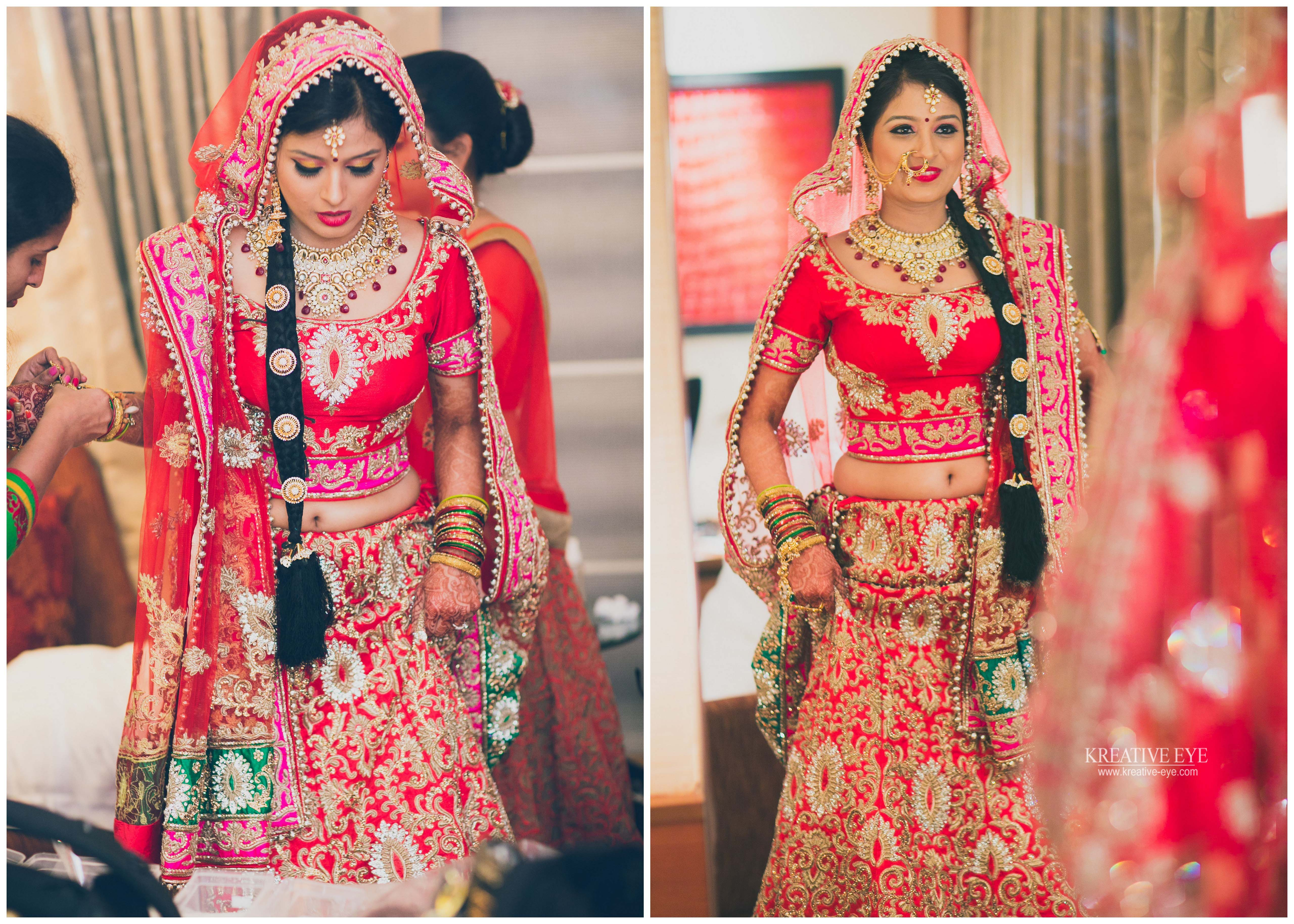 in her wedding trousseau, the most vibrant bride we have shot..